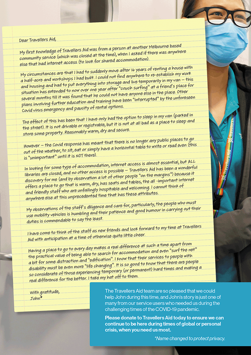 Image of John's Letter to Travellers Aid. Please Click on link to PDF for text version.